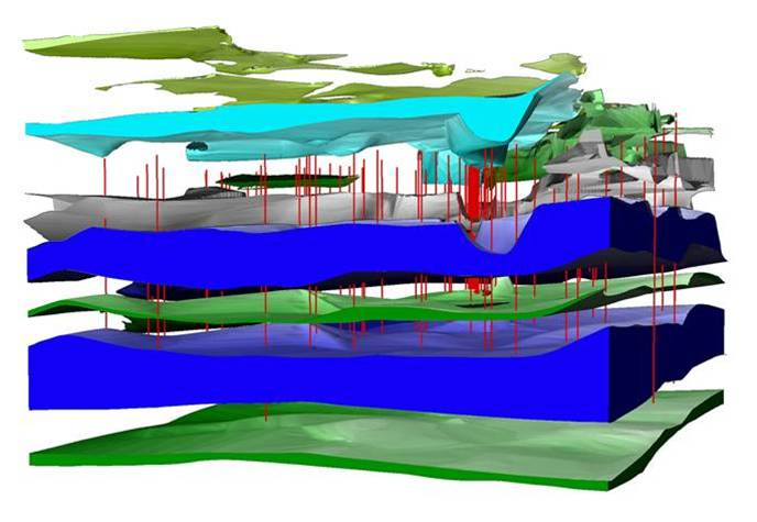 3D Volumenmodell Der Hydrostratigraphie, Bitterfeld